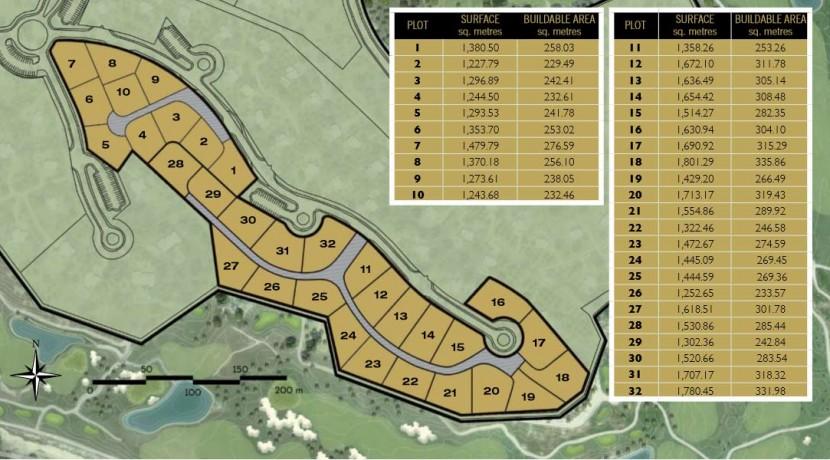 Plots for sale Adelfa community Las Colinas Golf Resort maps